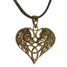 New Bronze Wolf Heart Pendant Cord Necklace in Gift Pouch Lisa Parker