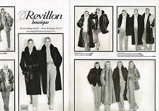 PUBLICITE ADVERTISING 104  1978  REVILLON  boutique fourrure ( 2 pages)