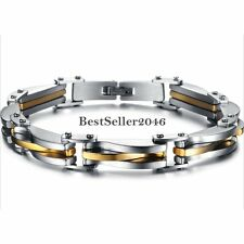 Silver and Gold Tone Stainless Steel Rhombus Chain Link Men's Bracelet 8.66""