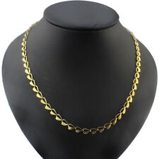Women Gift Stainless steel Sheet Heart Link Necklace Chain 6mm 20'' Gold Plated