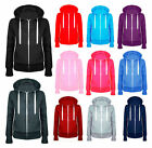 New Ladies Women Fleece Hoodie Plain Zip Sweatshirt Top Hooded Jumper-Plus Sizes