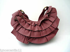 XUDE LONDON GENUINE SOFT SALMON PINK LEATHER HANDBAG UNDERARM FRILL BAG