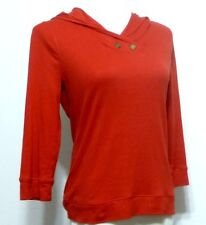 Lauren Jeans Co. Cherry  Red Soft Knit Ladies Hooded Shirt Size SMALL