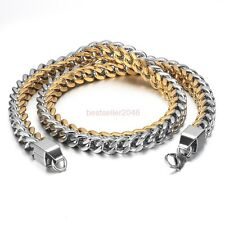 Silver & Gold Tone Stainless Steel Men's Square Cuban Link Chain Necklace 24""