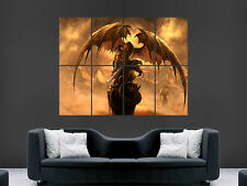 DRAGON WARRIOR FANTASY ART  HUGE WALL GIANT POSTER