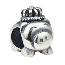 PIG PIGGY CROWN Genuine 925 sterling silver charm bead fits European bracelet