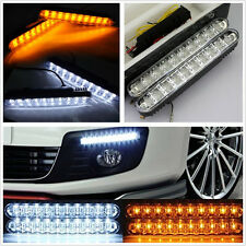 2 Pcs 12V 6700K 30LED Car White DRL Fog Lights Amber Turn Signal Lamp Waterproof