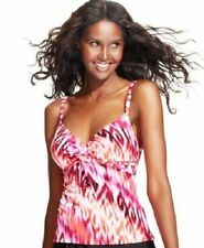 NEW Miraclesuit Roswell Ikat Tankini Swimsuit Underwire Red Pink Size 10 $98
