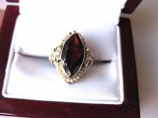 ANTIQUE 14K 2-tone FILIGREE WHITE GOLD RING:BOHEMIAN GARNET,DIAMONDS&SEEDS PEARL