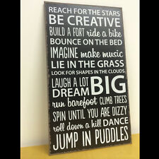 Vintage REACH FOR THE STARS LAUGH A LOT Positive Quotes Metal Wall Plaque Sign