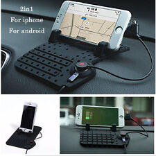Car Holder Dashboard Stand USB Mount Charger Cradle Non-Slip Pad for Phone GPS #