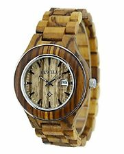 Ideashop Men's ZebraWood Steel Ring Case Wristwatches Lovers Watch natural New