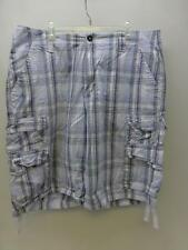 LEE DUNGAREES blue plaid check Cargo shorts bermuda board utility golf mens 33