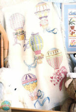 Cross Stitch Kit ~ Candamar Pastel Hot Air Balloons Baby AFGHAN #50487