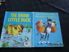 2 vntg Wonder Book THE BRAVE LITTLE DUCK 1974 DONKEY WANTED TO BE WISE 1961 cute