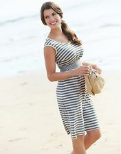 NEW pepperberry bravissimo Zoe Stripe jersey dress 18RS white denim blue holiday