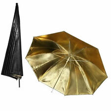 "Black Gold Soft Umbrella Studio Strobe Flash Light Reflector 33"" New"