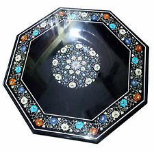 Size 2'x2' Marble Coffee Table Top Multi Inlay Stone Marquetry Mosaic Patio Deco