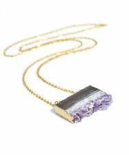 Raw Amethyst Crystal Slice Necklace-Vintage Gold Dipped Jewellery-Quartz Stone