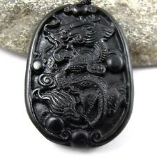 Black Green Jade dragon dance Amulet Pendant 036#