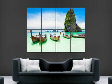TROPICAL BEACH PARADISE THAILAND BOATS   ART WALL PICTURE POSTER  GIANT HUGE !!!