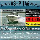 2x Boot Beschriftung + 2x Boot Kennzeichen Vorschrift DIN mit 10 cm Höhe 4-tlg.