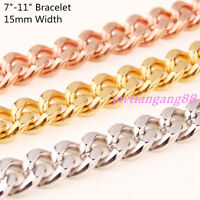 """7""""-11"""" 10/15mm Strong Stainless Steel Men's Curb Cuban Chain Bracelet Bangnle"""