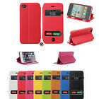 Slim S-View Dual Window Leather Flip Case Cover for Apple iPhone 4/4S, 5/5S, 5C