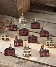PRIMITIVE RED & WHITE COUNTRY HOUSES SHOWER CURTAIN HOOKS~VERY NICE~SET OF12~NEW
