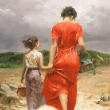 """Pino """"Homeward Bound"""" Mom Daughter walk Sold Out Giclee Canvas Hand signed/# COA"""