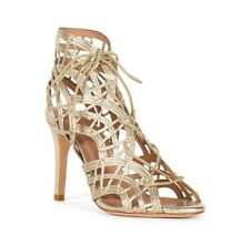 JOIE White Gold Leah Lace Front Caged Woven Leather Heel Pump Shoe NIB! 9.5