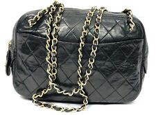 Auth CHANEL Black LambSkin Leather CC Charm Tote Purse Handbag Shoulder Bag