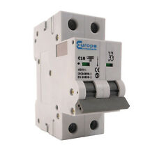 16 Amp Double Pole 16A MCB Breaker C16 IDEAL FOR MOBILE INSTALLATIONS / CARAVANS