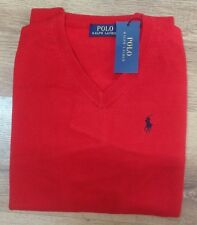 Men's Polo Ralph Lauren cotton V- neck - Pullover, long sleeve -Red- 2XL