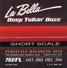 LA BELLA 760FL-S DEEP TALKIN' FLATWOUND BASS STRINGS, SHORT SCALE  -  43-104