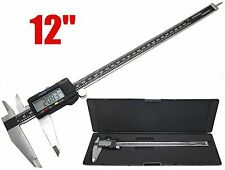 "New 12"" Digital Electronic Caliper Precision Stainless Inch/Metric LCD w/ Case"