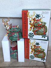 Fitz and Floyd Deer Santa Filled Candlecup Reindeer Christmas Set of 2 NIB