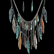 Western Bohemian Metal Gold Silver Rose Gold Patina Feather Pendants Necklace