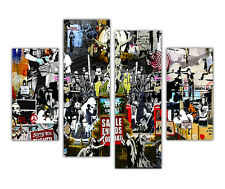 "LARGE BANKSY CANVAS COLLAGE PRINTS WALL ART 4 PANEL 35""(90cm) XXL PICTURES"