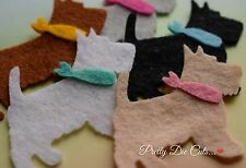 Felt Scotty Dogs with neckties (pack of 5) Die Cut Craft Embellishment