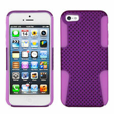 For iPhone 5 5S SE MESH Hybrid Silicone Rubber Skin Case Phone Cover Purple Pink