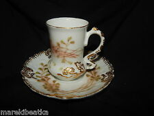 ANTIQUE A L LIMOGES FRANCE STUNNING FLORAL DESIGN CUP AND SAUCER, SIGNED