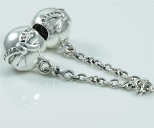 Authentic Genuine Pandora Silver Dainty Bow Safety Chain 791780CZ