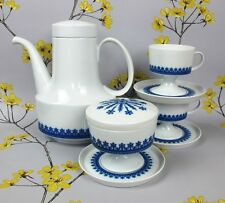 Stylish RETRO blue & white Rosenthal Tapio Wirkkala Coffee Set/Service. Germany.