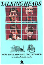 TALKING HEADS  POSTER. MORE SONGS ABOUT BUILDINGS AND FOOD.