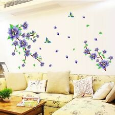 PURPLE FLOWERS BRANCH TREE NEW ROOM WALL ART STICKERS VINYL DECAL HOME DIY DECOR