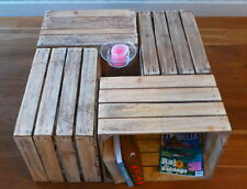 6 amazing solid vintage wooden apple crates boxes - ground and cleaned!