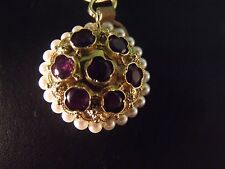 Retro Vintage Amethyst And Pearls Bracelet Charm Pendant 18K Gold Fine Jewelry
