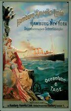 Blechschild Hamburg Amerika Linie Doppelschrauben Schnelldampfer Dampfer 20x30