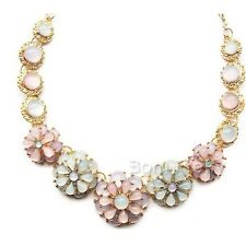 Blumen Muster Pullover Kette Strass Halskette Necklace Schmuck